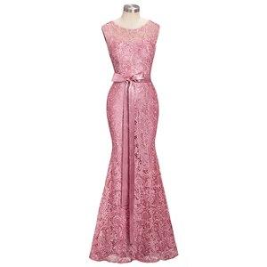 Image 4 - Vestido de festa longo Mermaid Burgundy Dusty Pink Lace Bridesmaid Dresses Formal Prom Dress Party Gowns With Sash