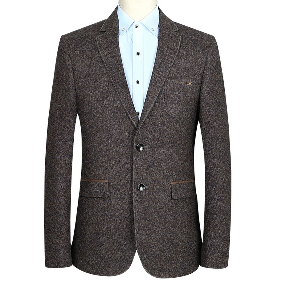Men Single Breasted Luxury Suit Blazer Business Casual Jacket High Quality Wedding Party Slim Fit Solid Color Dark Brown Clothes