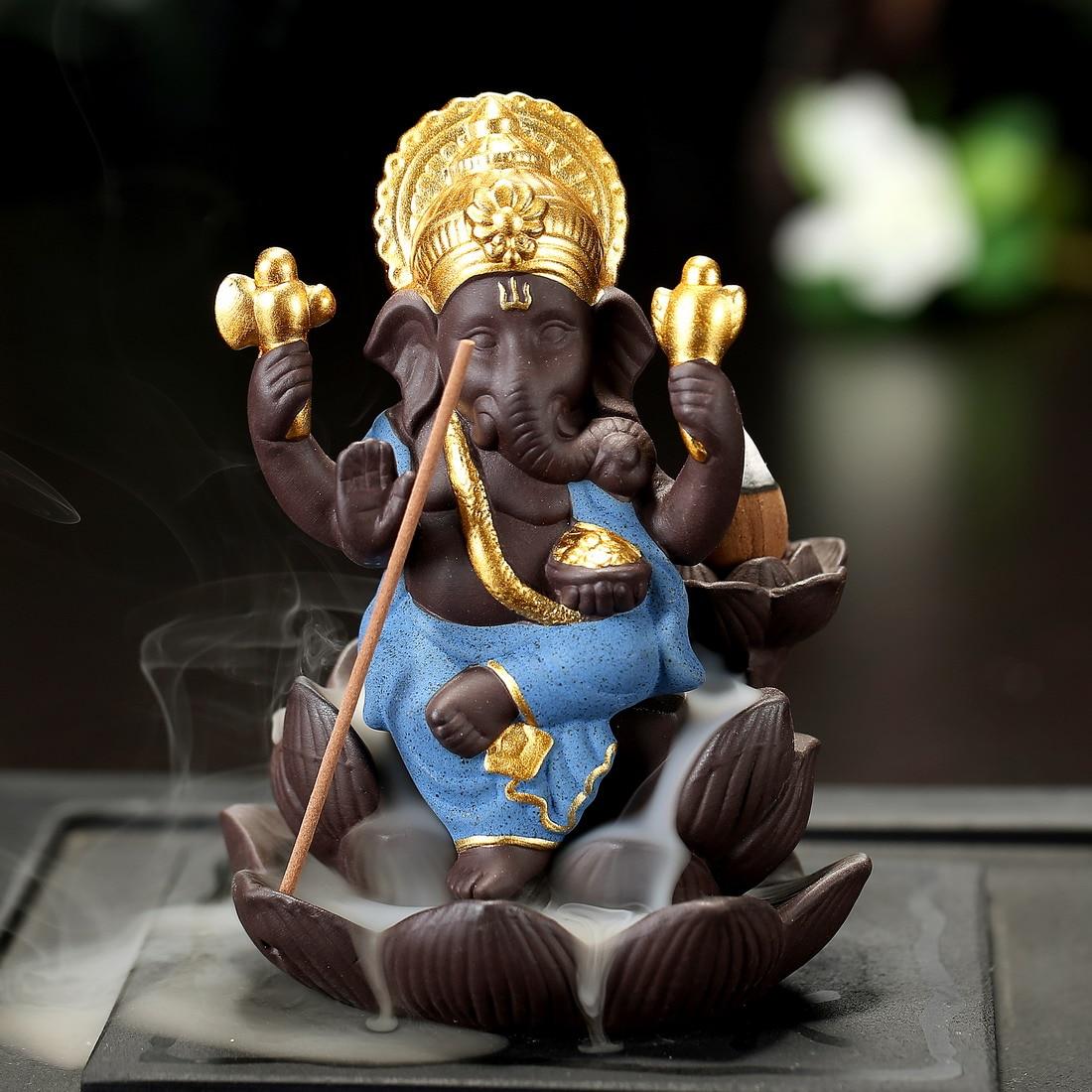 India Lord Ganesha Incense Burners Backflow Cone Censer Holder Home Decor Ornament Buda Decorativo  Buddhist Z265