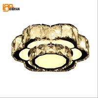 Современные 2 слоя светодиодный потолочный светильник cristal Lampara TECHO хром спальня лампа настольная коридор Crystal Light 16 Вт