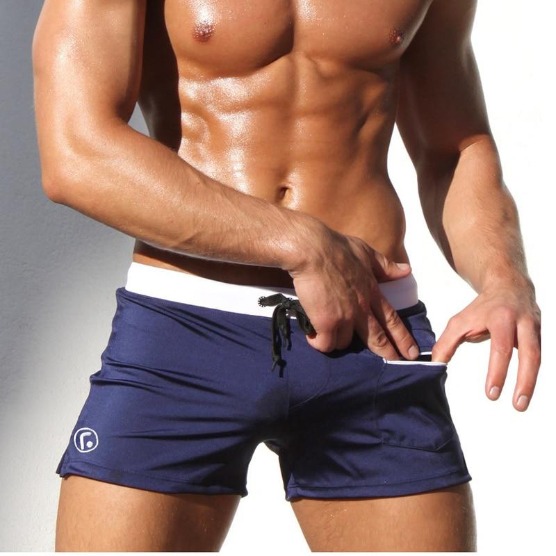 Sexy Men Swimwear Swimsuits 2016 New Low Waist Men's Trunks Pocket Beach   Board     Shorts   Mens Suits