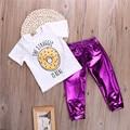 2 UNIDS 2016 Nueva Chica Linda Bebé Recién Nacido Arropa Sistemas Galleta Camiseta Tops + Pantalones púrpuras Polainas Trajes Set