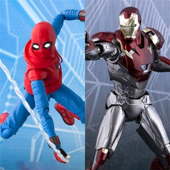 HKXZM Anime figurines SHF SHFiguarts Spiderman maison fait costume Ver. Et Fer homme MK 47 PVC figurine à collectionner modèle jouets cadeau