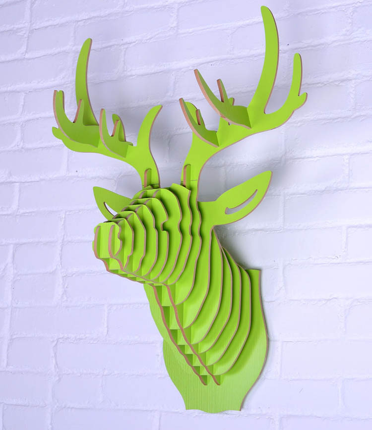 aliexpresscom buy free shipping 3d puzzle wooden diy model wall - Animal Head Wall Decor