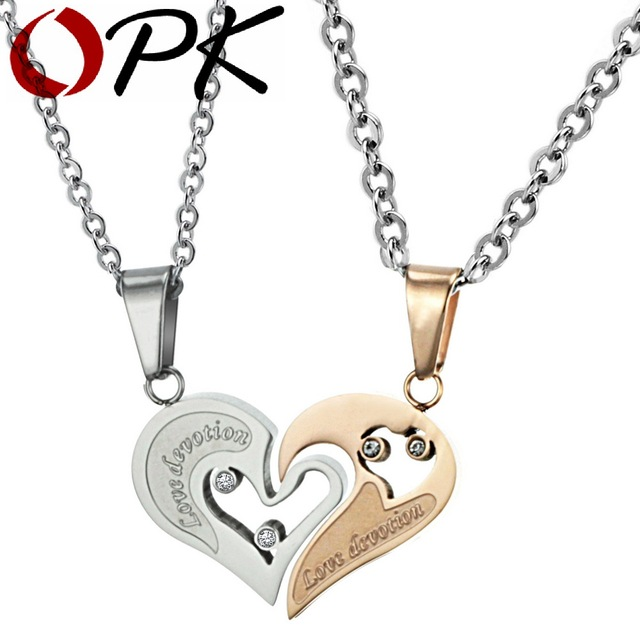 OPK Couple love heart pendants necklace for lover inlaid rhinestone CZ. rose gold Plated Stainless Steel free shipping 537