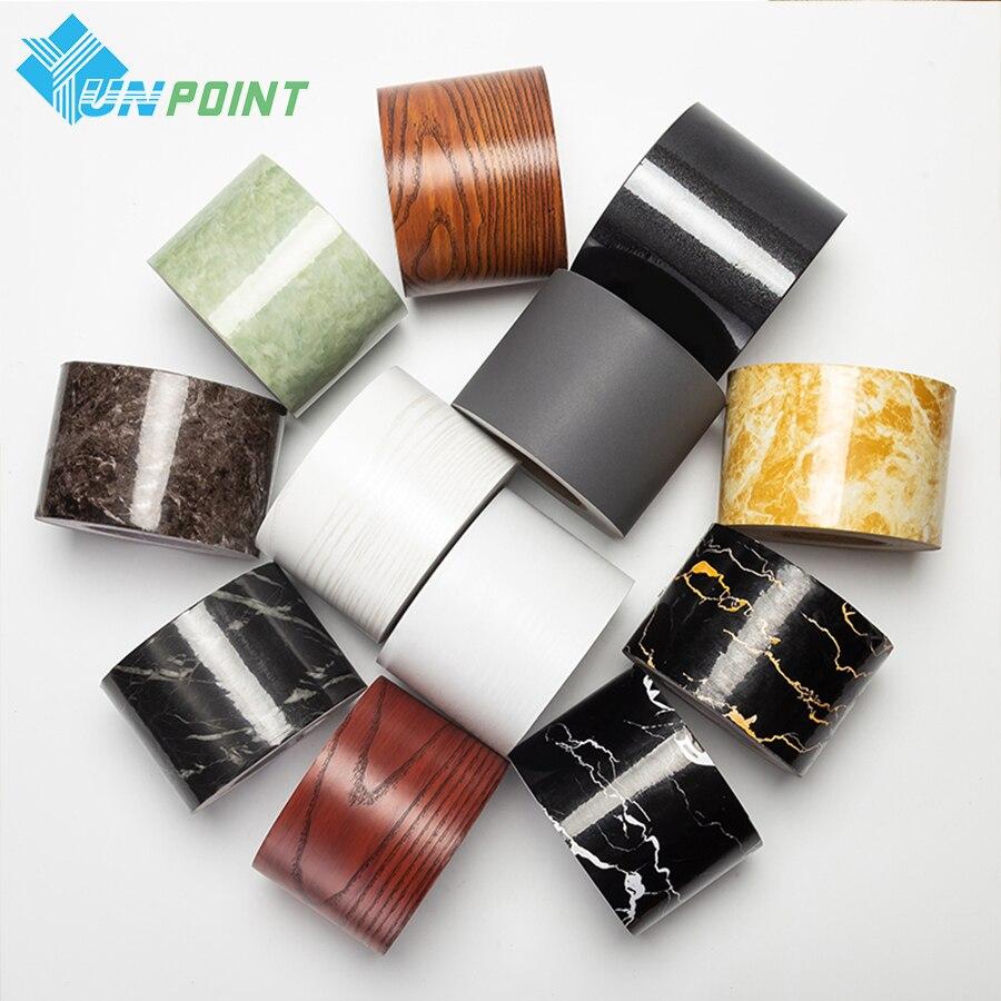 0.1x5M Marble Vinyl Wall Stickers Solid Color Self Adhesive Wallpaper Border Bathroom PVC Waterproof Wood Pattern Wallpaper Roll