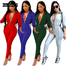 enteritos mujer Plus Size Jumpsuit Women Sexy Zipper Front V Neck Sheath Bodycon 3/4 Sleeve Solid Rompers Female Body Overalls