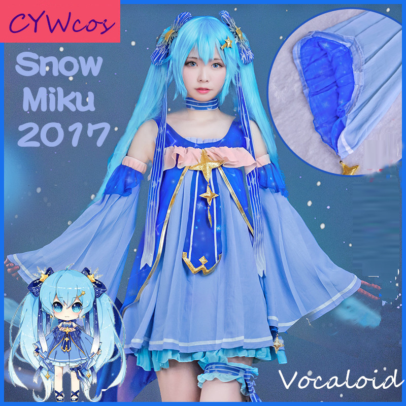 Vocaloid Cosplay 2017 neige Miku princesse Cosplay Costume Halloween fête uniformes robe femmes d'été costumes robes