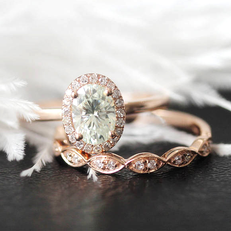 14k Rose Gold Moissanite Ring Set 5x7mm 1 0ct Oval Cut Moissanite Engagement Ring With Match Band For Women Ring Set Ring Ringring Engagement Aliexpress