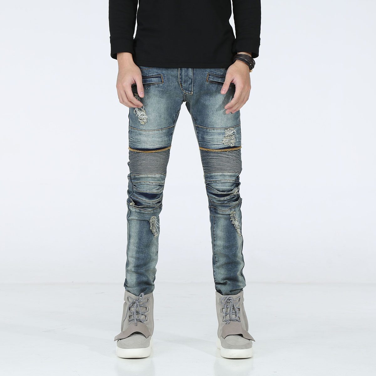 New Distressed Biker Jeans Men High Quality Fashion Mens Casual Slim Elastic Straight Denim Jeans Skinny Jeans Men Pants 29-42 2016 high quality mens jeans blue color printed jeans for men ripped button jeans casual pants quality cotton denim jeans