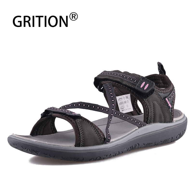 GRITION Summer Shoes Women Sandals Outdoor Platform Cross-Strap Footwear Ladies Flat