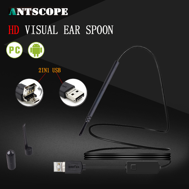 Antscope 2IN1 USB  Ear Cleaning Endoscope HD Visual Ear Spoon Multifunctional Earpick With 5.5mm Mini Camera Ear Cleaning Tool medical led otoscope 3x magnification portable diagnostic kit ear cleaning endoscope hd visual ear spoon ear health care 30