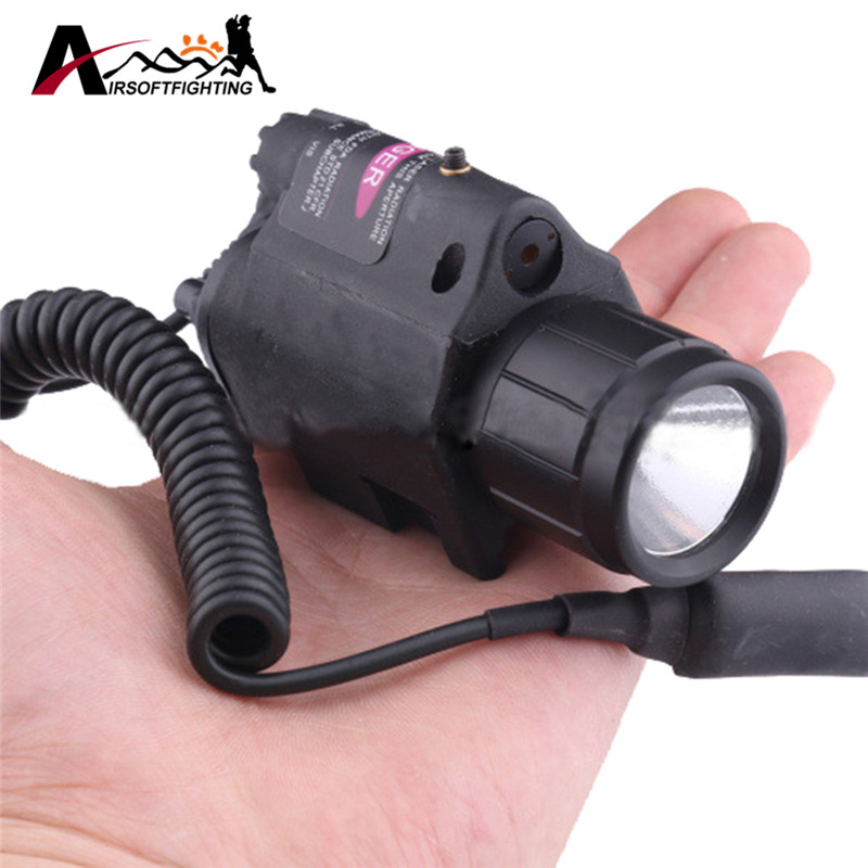 Tactical 3 Mode Red Laser LED White Light 200LM Flashlight For 20mm Rail Paintball CS Field Flashlight w/ Remote Switch