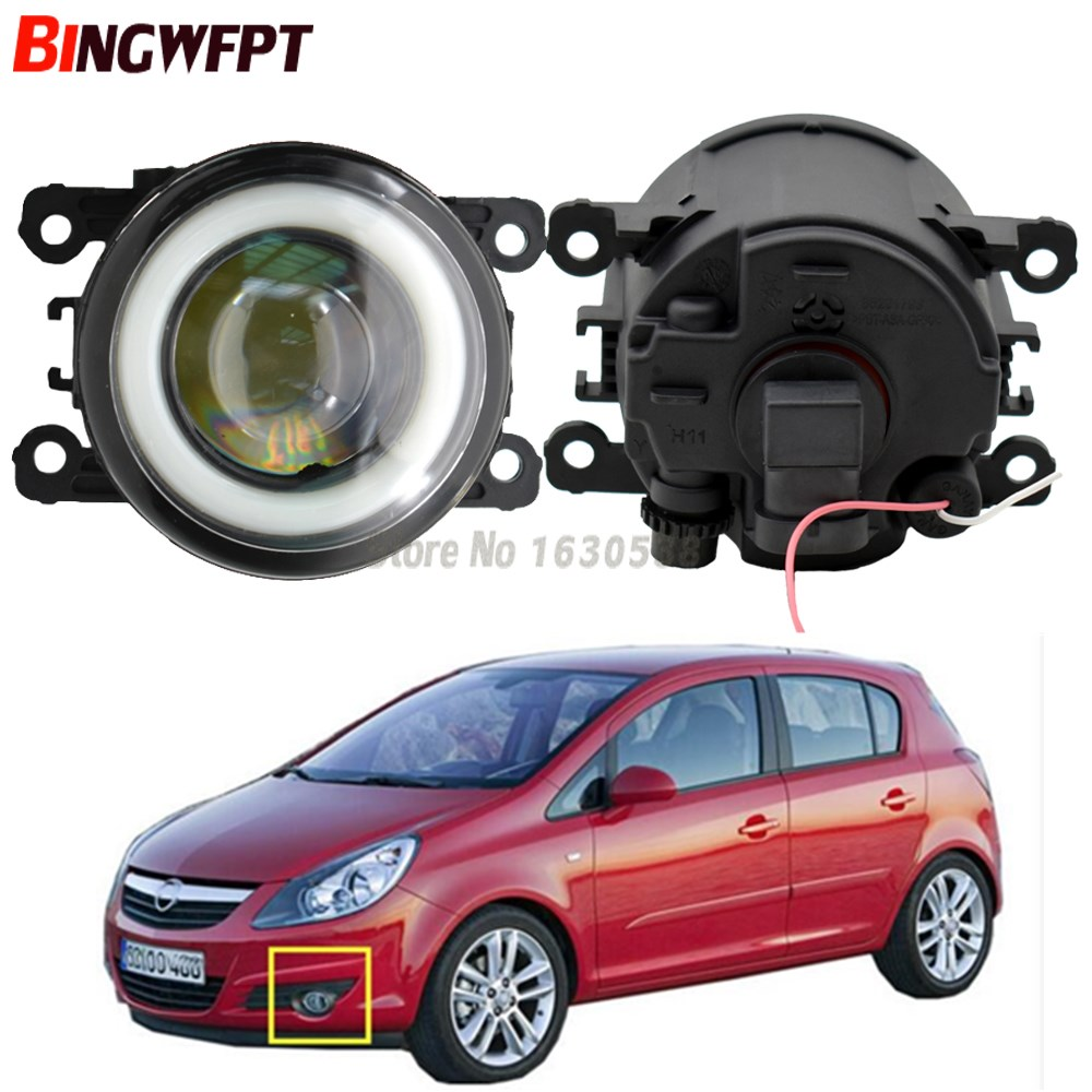 2x NEW Angel Eyes Car styling LED fog Lights with lens For <font><b>Opel</b></font> Vauxhall <font><b>Corsa</b></font> <font><b>D</b></font> OPC 2007-2011 For <font><b>Opel</b></font> <font><b>Corsa</b></font> <font><b>D</b></font> Hatchback 07-15 image