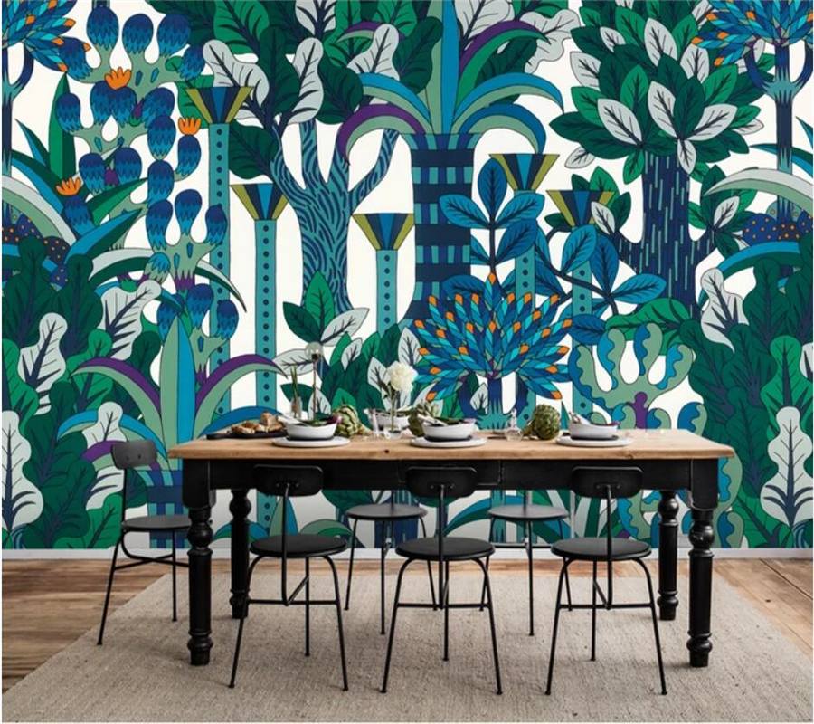 Beibehang Custom Wallpaper 3d Murals European Retro Nostalgic Abstract Rainforest Plant Wallpaper Mural TV Background Wall Paper