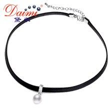 Daimi blanco gargantilla de perlas colgante 8-9mm tear gota de agua dulce collar de perlas 13-14mm perla de la moneda collar de moda de la señora mejor regalo