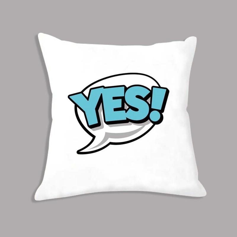Plush White Cushion BANG OMG WTF Letters Printed Pillowcase 45x45cm Decorative Cushion For Sofa Home Decor Party Decoration