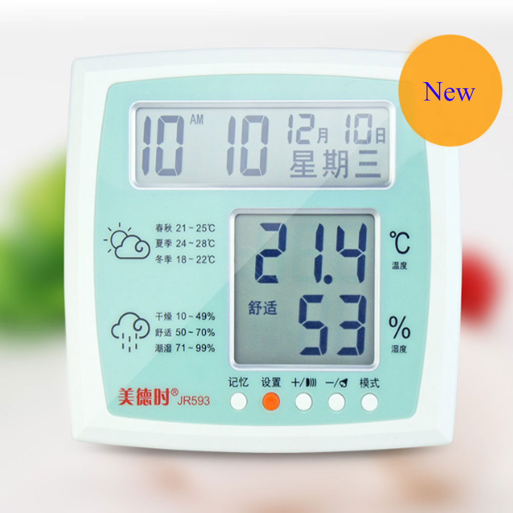 New HTC-1 High accuracy Electronic Temperature Humidity Meter Clock LCD Digital <font><b>Thermometer</b></font> Indoor Weather Station Hygrometer
