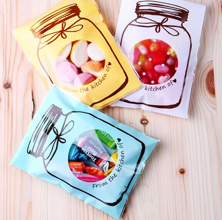 500pcs/lot 3 Color plastic packing shopping bags cookie bags wedding cake bags bonbons for gift pouch candy box food bag