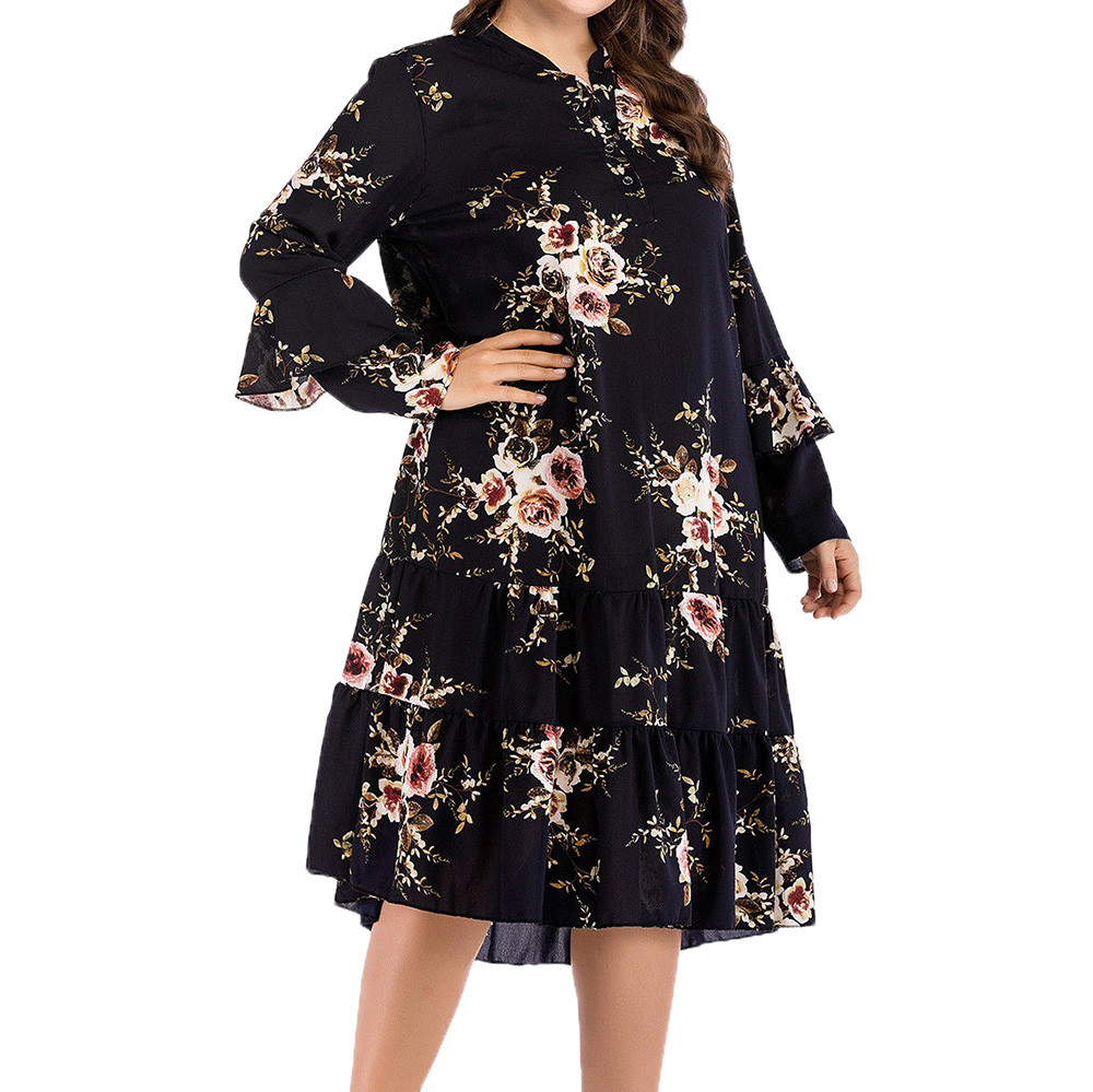 CHAMSGEND Womens Dress 2020 Plus Size Chiffon Women Dress O-Neck Floral Print Long Sleeve Casual Dress High Quality Dress Oc16