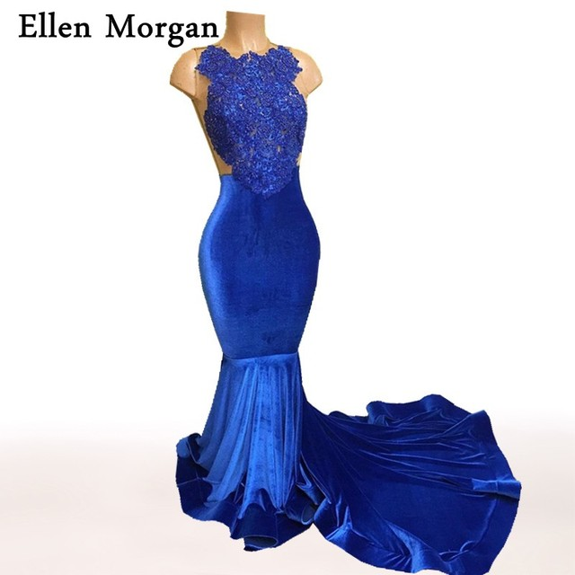 Royal Blue Mermaid Prom Dresses 2017 Real Picture Sexy See Through African Black Girls Gold Lace Velvet Cheap Custom Gowns