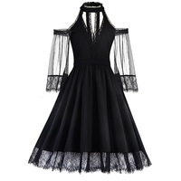 Cool Gothic Skater Dress Lace Mesh Girl Summer Party Travel Fashion Slim Sexy Bella Morte Maiden Wicked Casket Cutie Dresses
