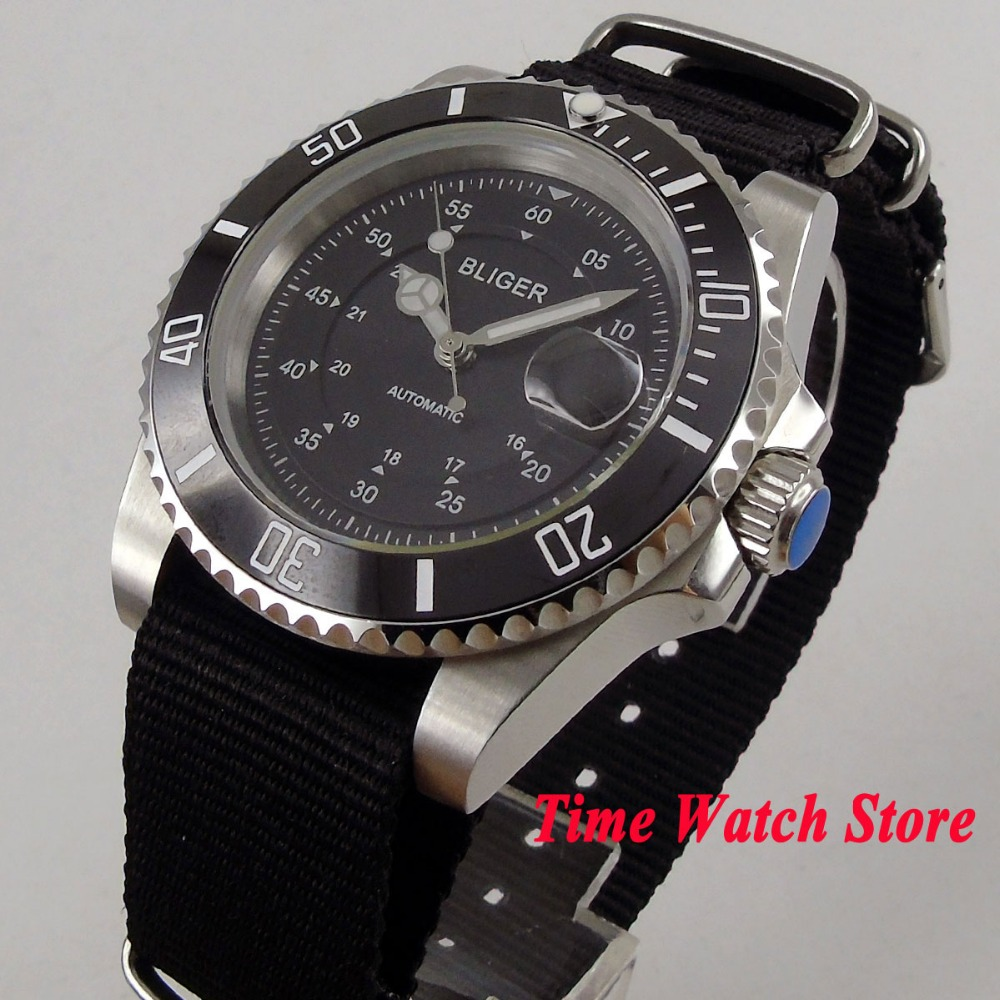 Bliger Luxury Quality 40mm waterproof dive pilot nylon black dial date luminous sapphire Automatic mechanical wrist watch men