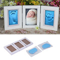 2016 Hot Sale Cute Baby Photo frame DIY handprint or footprint Soft Clay Safe Inkpad non toxic ceremony gift for baby