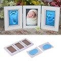 2016 venta caliente bebé lindo marco de fotos diy huella de la mano o Arcilla Seguro Almohadilla de Tinta no tóxica huella Suave regalo ceremonia para bebé