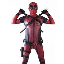 Deadpool Cosplay Costume Man Marvel Deadpool-Costumes Adult Wade Wilson Spandex Lycra Nylon Zentai Bodysuit Halloween Party цена