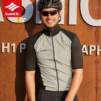 Santic Reflective PRO Men Cycling Vest Thin Breathable MTB Mountain Bike Sleeveless Jersey Quick Dry Outdoor Sport Riding Vest