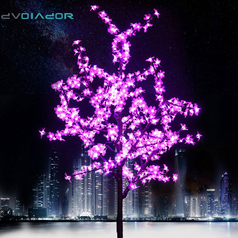 DVOLADOR Xmas LED Cherry Blossom Tree Light 0.8m 1.2m New Year Wedding Luminaria Decorative Tree Branches Lamp Outdoor Lighting led battery plum blossom flower tree night light adjustable waterproof atmosphere decorative lamp bedroom wedding holiday light