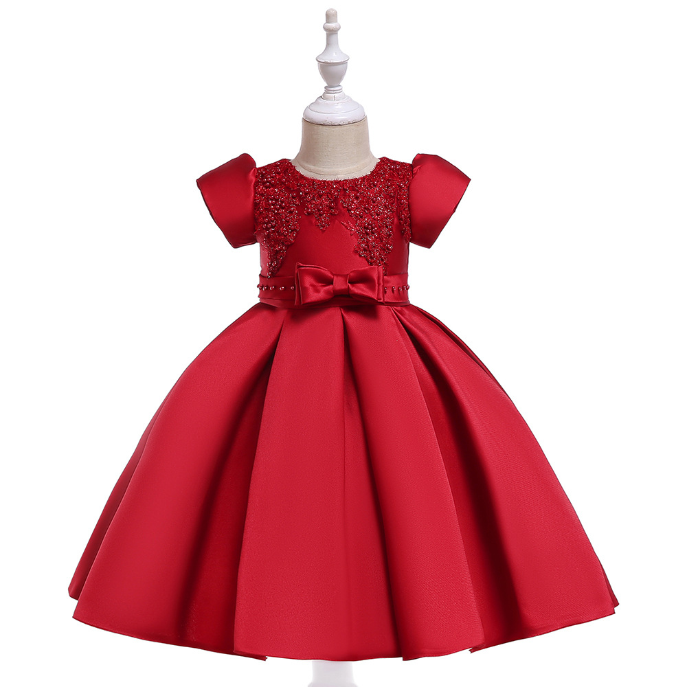 Beauty A-Line Short Sleeves Red Satin   Flower     Girl     Dresses   First Communion   Dresses   2019 BirthdayGowns