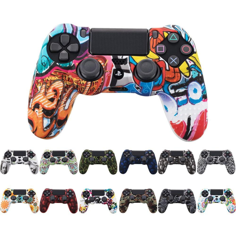 For Sony PS4 Slim/Pro Controller Dualshock4 Controller Gamepad Camo Silicone Cover Rubber Skin Grip Case Protective