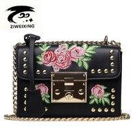 ZIWEIXING פרח רקמת אופנה נשים תיק עור PU באיכות גבוהה תיק כתף שקיות שליח עיצוב שרשרת דש תיק Bolsa