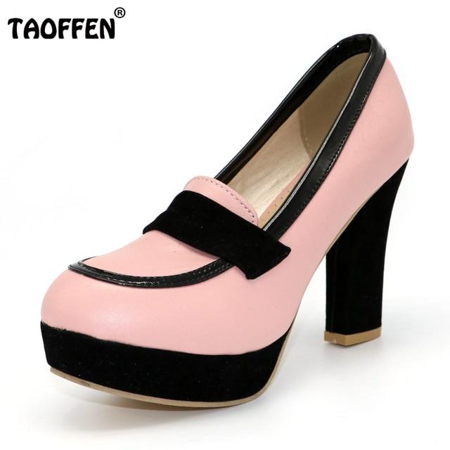 TAOFFEN dames hoge hakken vrouwen sexy jurk schoenen mode dame merk pompen P13025 hot verkoop eur 34-47