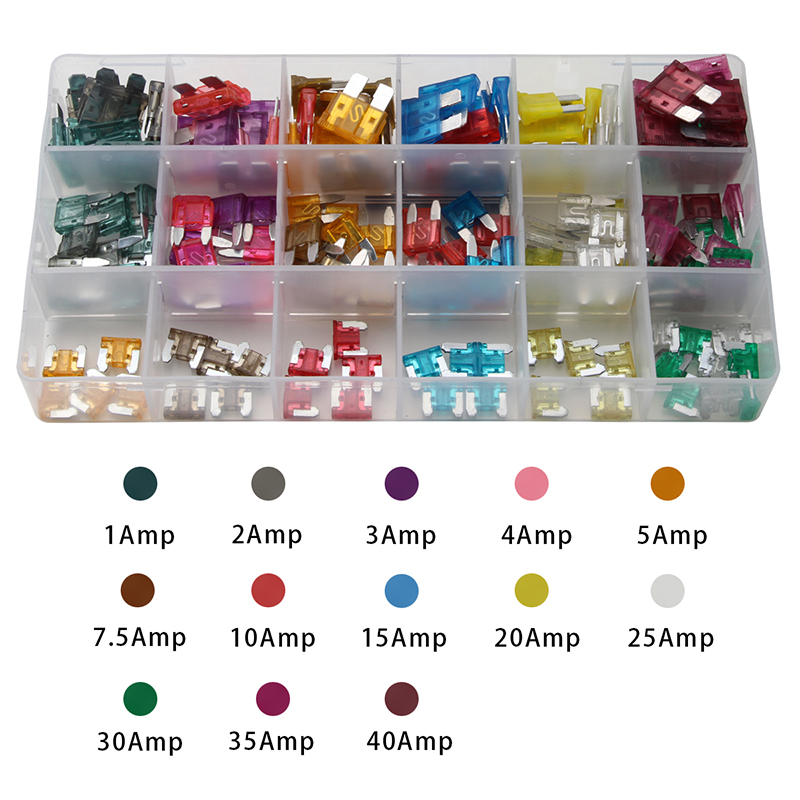 Mini 1-40AMP Auto Fuse Blade Fuse for Car Safety Standard Auto Fuse Holder 7 Sizes Mixed 165PCS Kit Assortment with Box