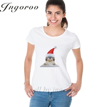 Babaseal Cute Santa Dog Using Laptop Printing Letter Graphic Tee Hip Hop Oversized T Shirt Fox Sequin Tshirt Hipster Sexy Tops(China)