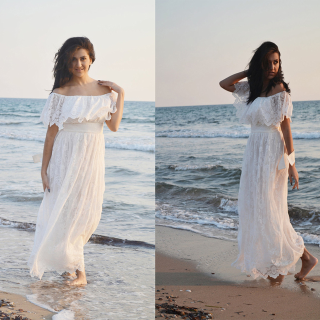 Ivory Lace Wedding Dress Beach Bohemian Gown 70s Maxi Off The Shoulder Casual