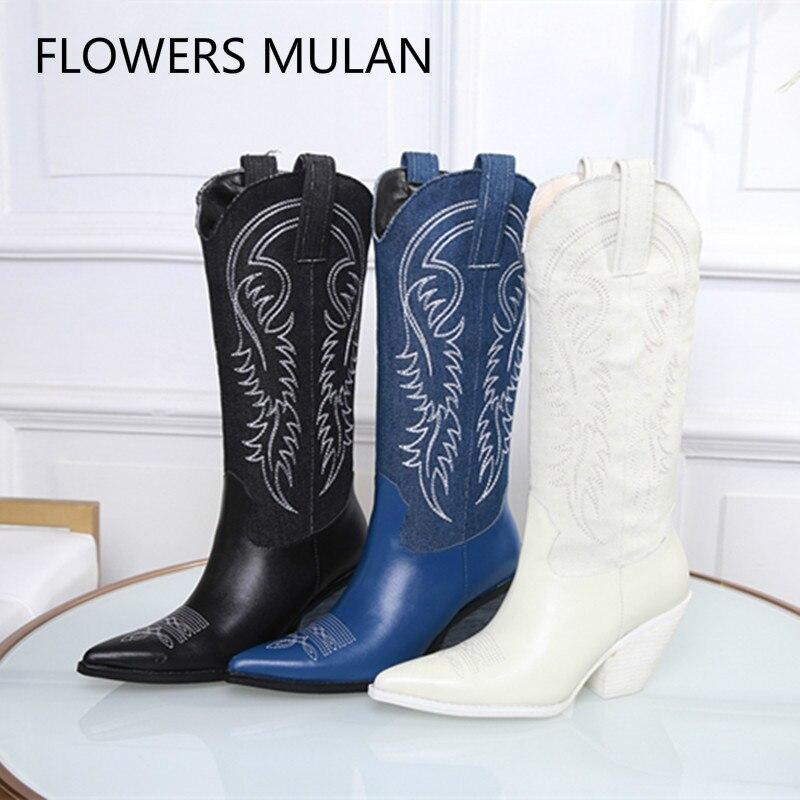 2018 sans lacet femmes bottes nouveau automne hiver en cuir véritable mi-mollet bottes Chunky talons hauts blanc rouge bleu femmes chaussures