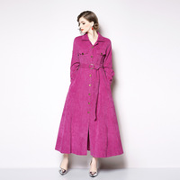 Hot Pink Corduroy Pocket Button Sashes Split Maxi Dress Women Elegant Vintage Office Party Fashion Dress 2019 Spring Clothing