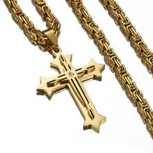 Granny Chic High Quality Stainless Steel Jesus Christ Cross Pendant Necklace 4mm Byzantine Link Chain Gold Color For Men недорого