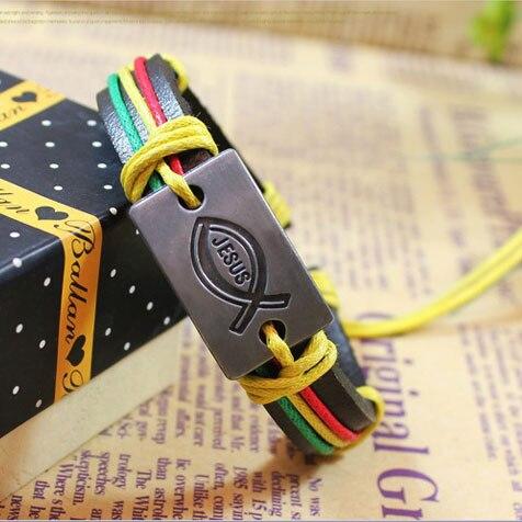 Kirykle-bracelet en cuir fait de ficelle colorée pour hommes et femmes, à breloque, Vintage, bijoux chrétiens, idée cadeau, jésus poisson, religion 3