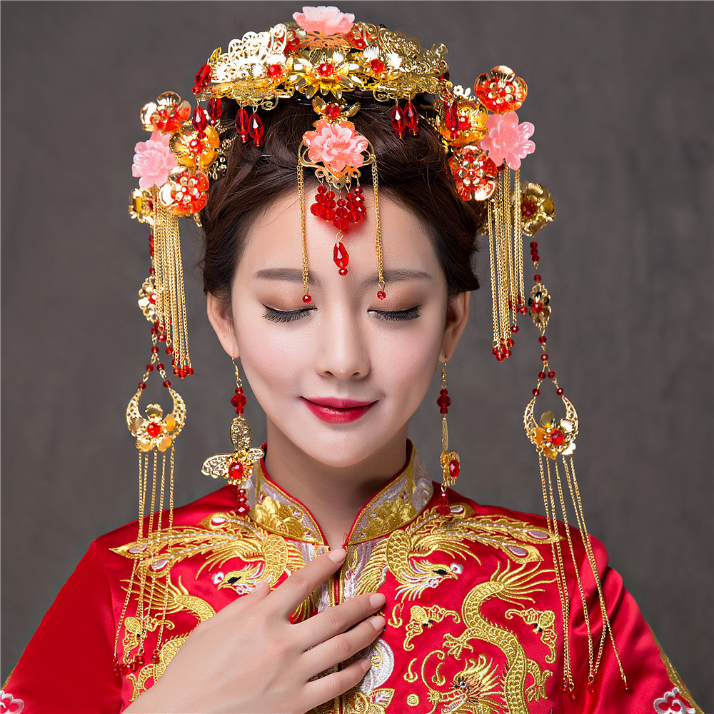 Elegance Chinese Vintage Wedding Bridal Hair Accessory Traditional Gold Plated Flower Bride Hair Combs Tiaras Hairwear
