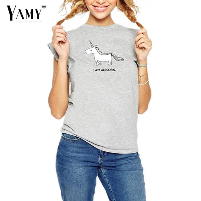 Kawaii korean cute Unicorn horse summer t shirt women tops short ...