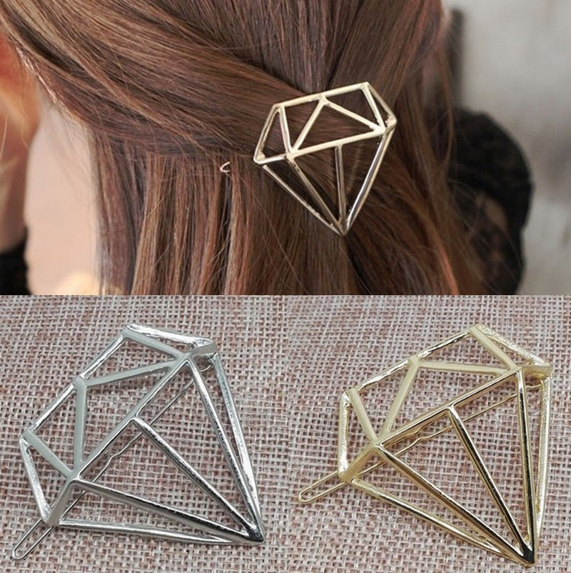 Women Fashion Minimalist Triangle Diamond Lip Hair Pin Clip Jewellery Accessories Wedding Boho Style Simple Hair Accessories