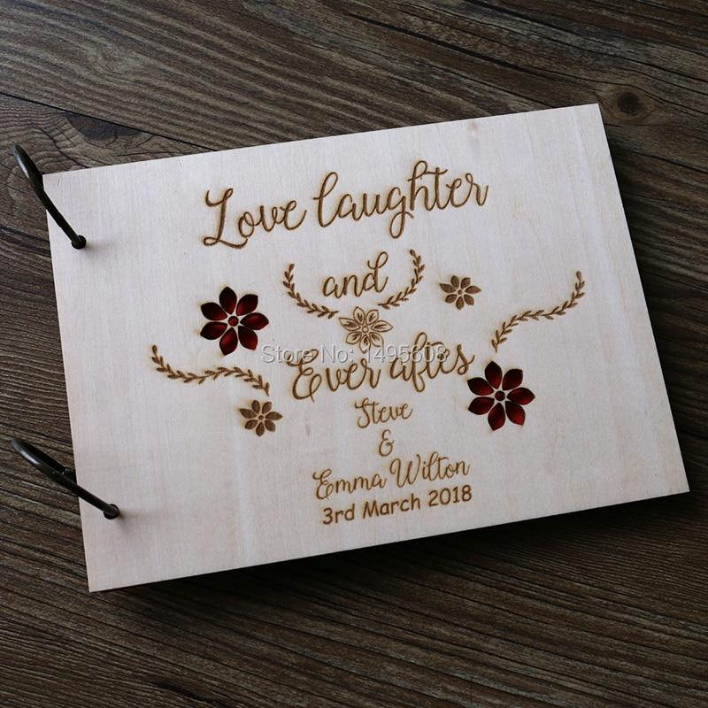Wooden Wedding Album: Wooden Wedding Sign Book Rustic Wedding Guest Book Flower
