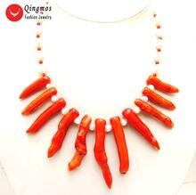 Qingmos ожерелье из натурального коралла для женщин с 8*70 мм