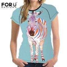 FORUDESIGNS Women Basic T shirt Summer Short Sleeved Breathable Slim Tshirt For Girls 3D Animal Graffiti Female Shirts Clothes