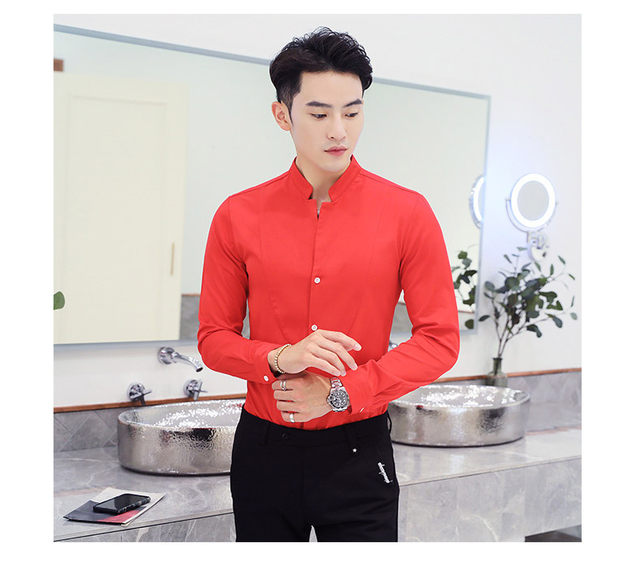 Fall Winter Stand Collar Mens Long-sleeved Dress Shirts Black Red White Slim Elegant Youth Male Business Wedding Formal Shirt 22